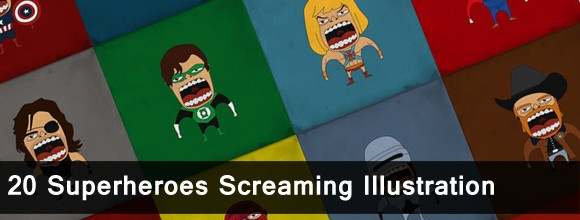 20 Superheroes Screaming Illustration 1