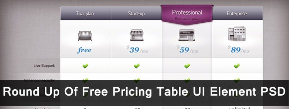 Round Up Of Free Pricing Table UI Element PSD 60