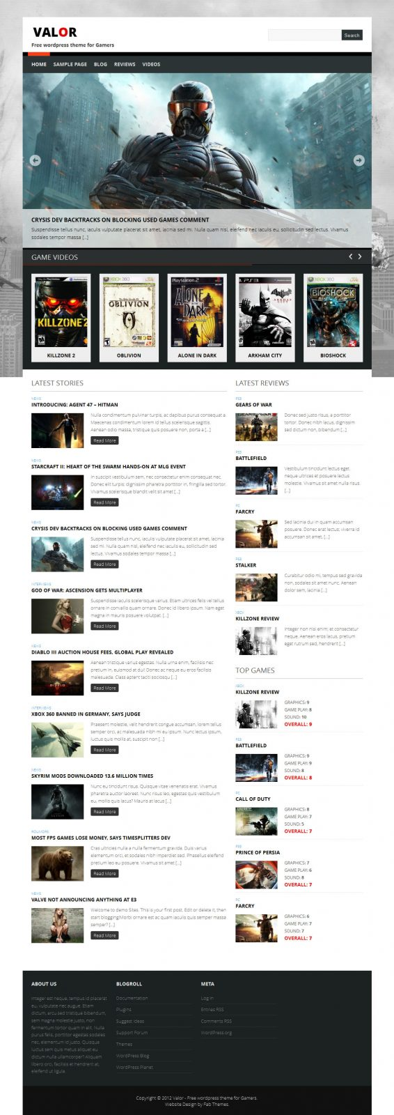 Valor: Free wordpress theme for Game Review 36