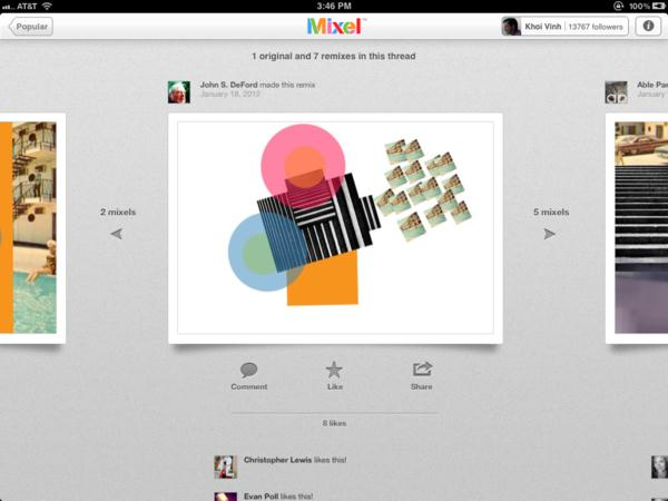 The world's first social collage app for Ipad: Mixel 37
