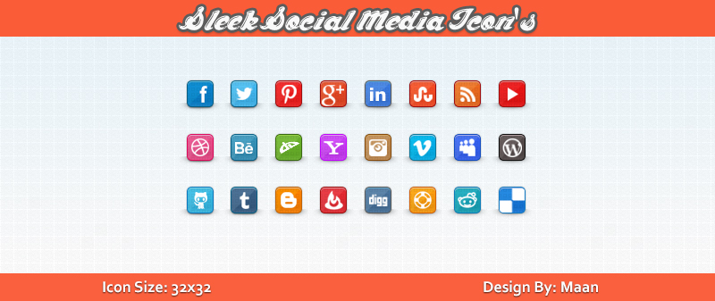 Free Sleek Social Media Icons