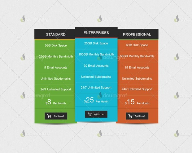 Metro Style Pricing Table Free PSD