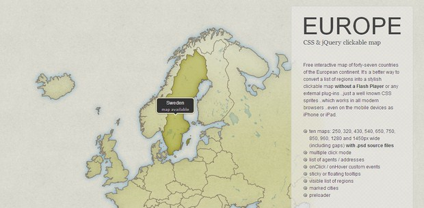 Europe - CSS & jQuery Clickable Map