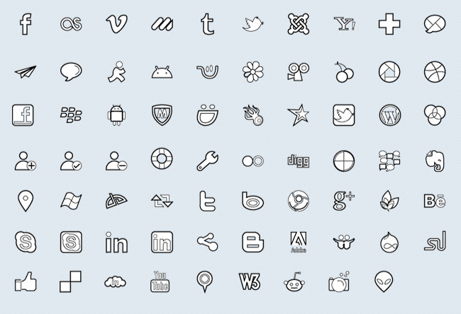 Brands and Social Networking (69 icons)