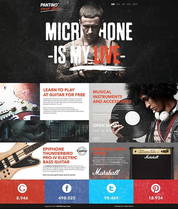 PANTINO - music store web design inspiration