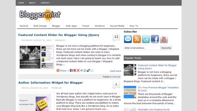 Bloggermint Blogger Template