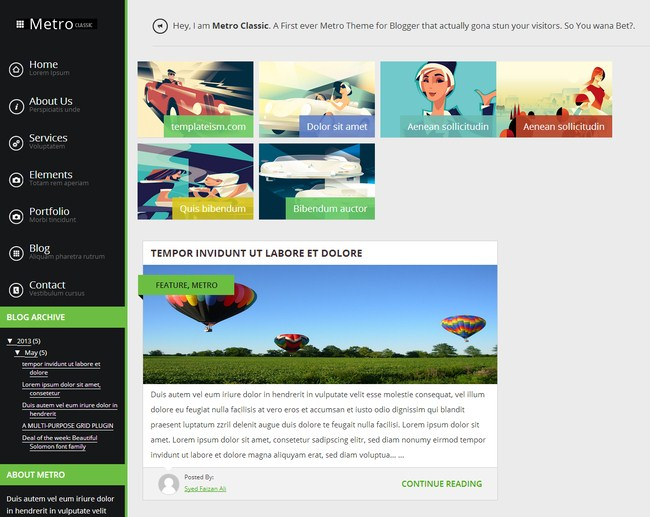 Collection of free blogger templates