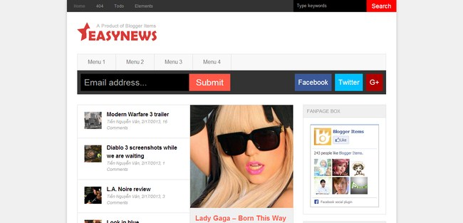 Easy News – Responsive Magazine Blogger Template