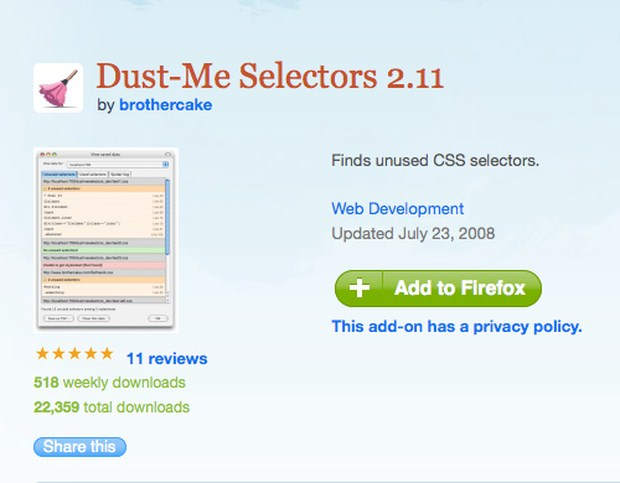 Dust Me Selectors