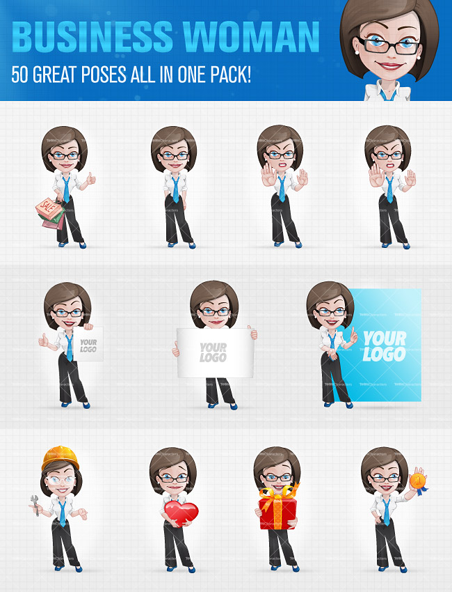 Business Woman Cartoon Characters