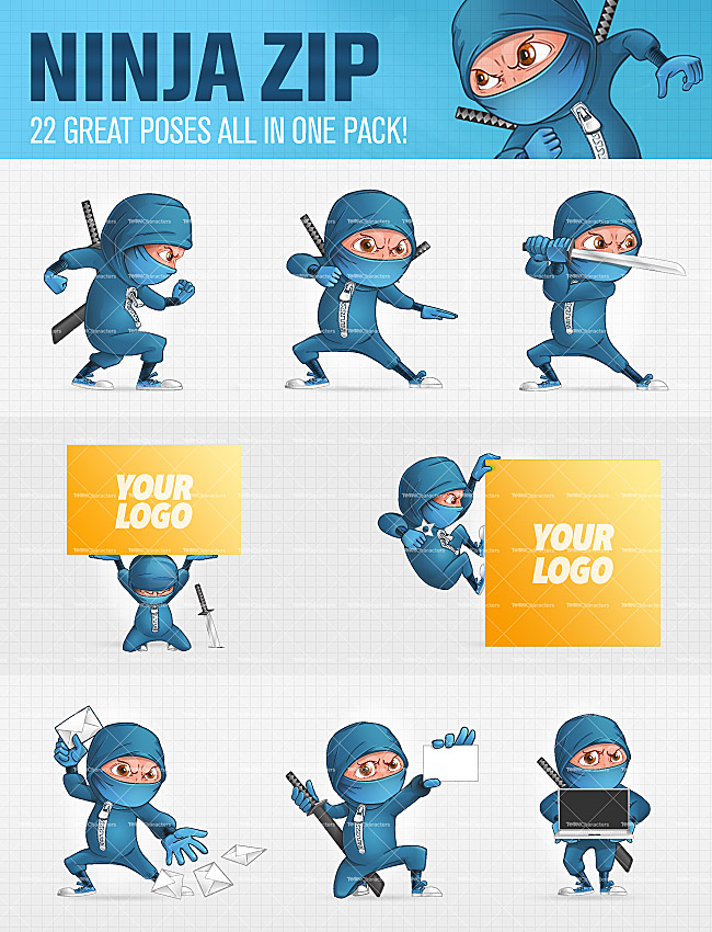 Ninja Zip Cartoon Characters