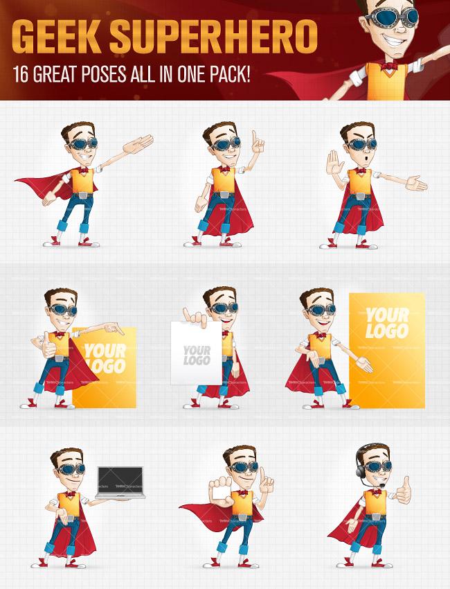 Geek Superhero Cartoon Characters