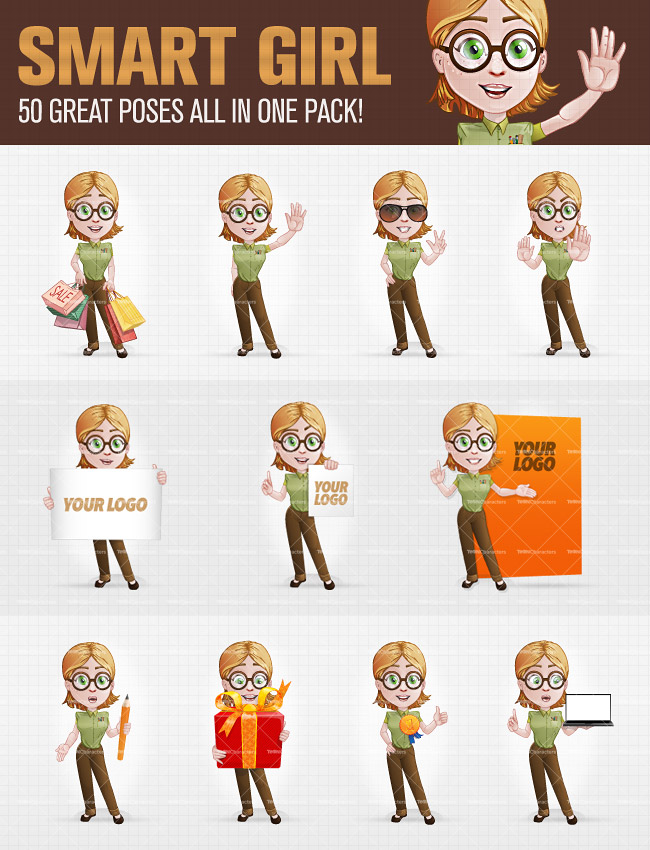 Smart Girl Cartoon Characters