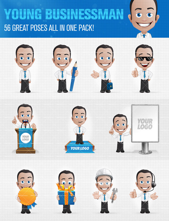 Young Businessman Cartoon Characters