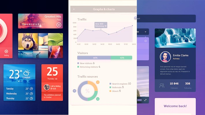 20 Useful Flat UI kits Free PSD