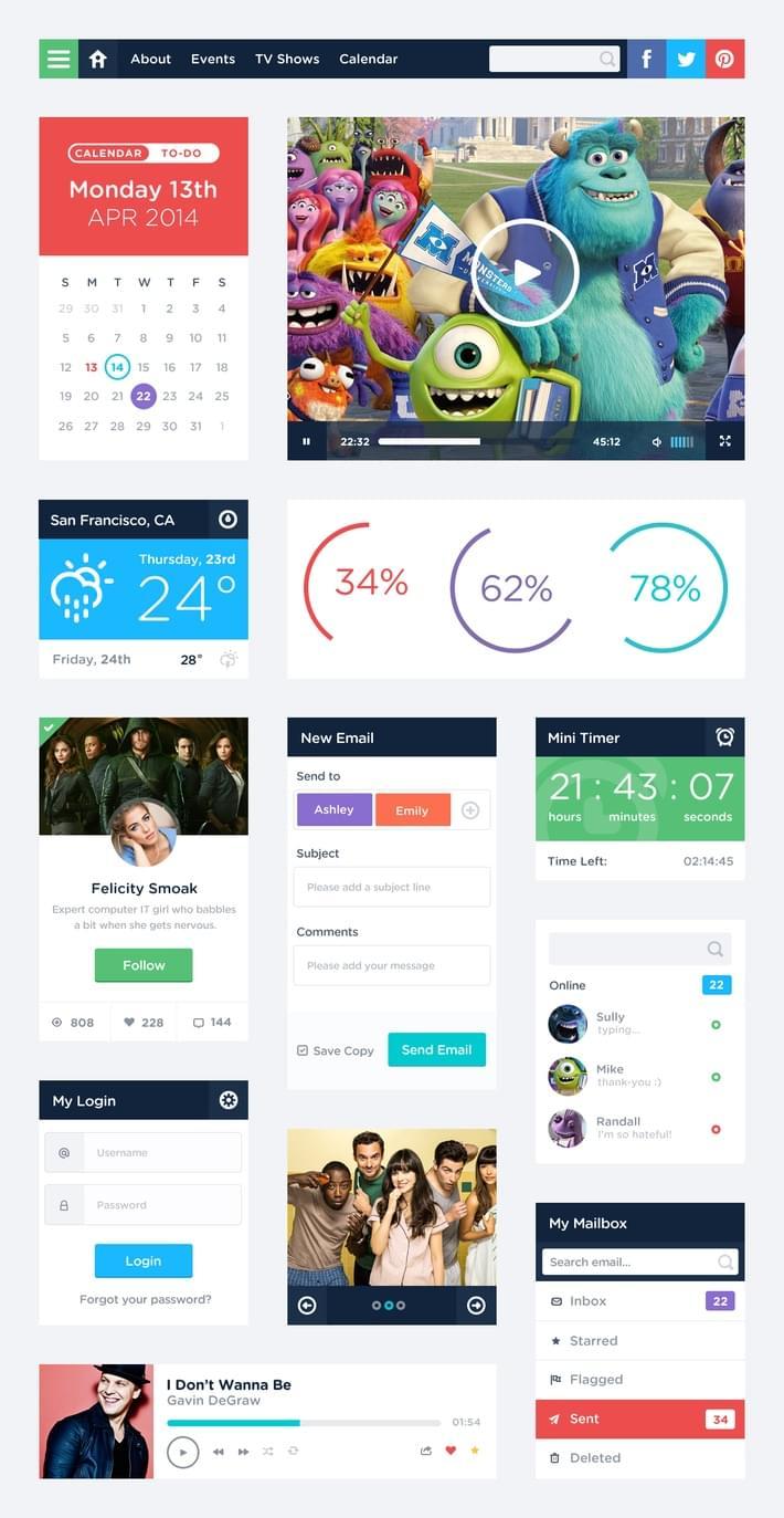 31-Free UI Kit PSD