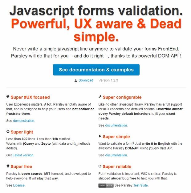javascript form validation plugin