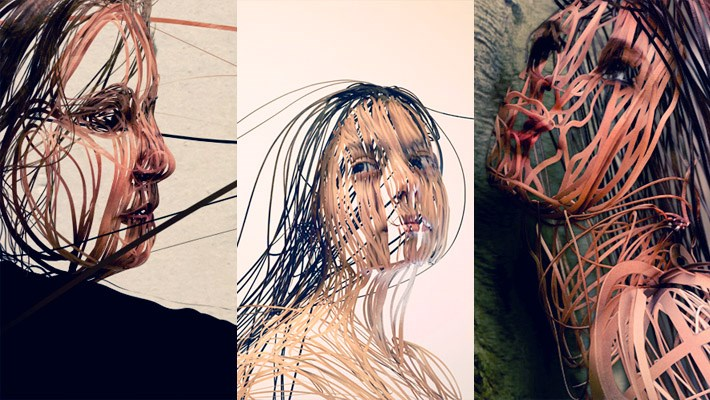 Creative Scribbled Line Portraits