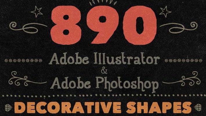 890 Unique Handwritten Decorative Shapes 1