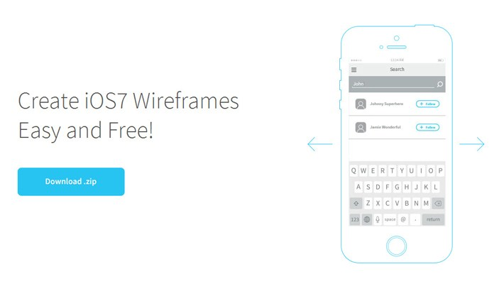 Free iOS7 Wireframe