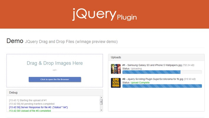 JQuery Drag and Drop File Uploader with Progress Bar