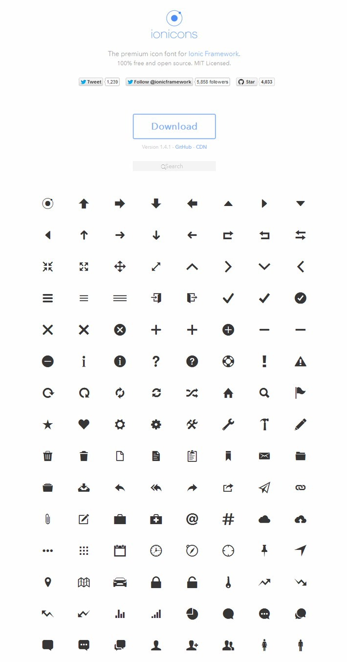 Ionicons- The premium icon font