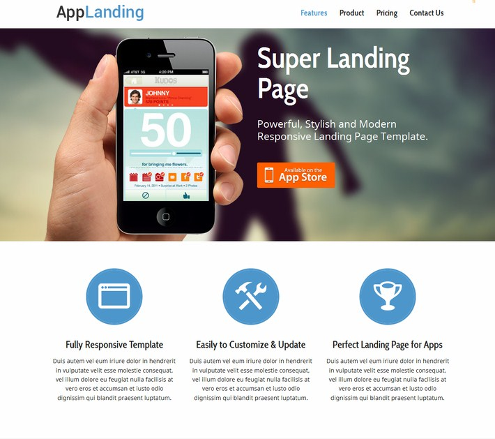 Responsive Landing Page For iPhone-Android App