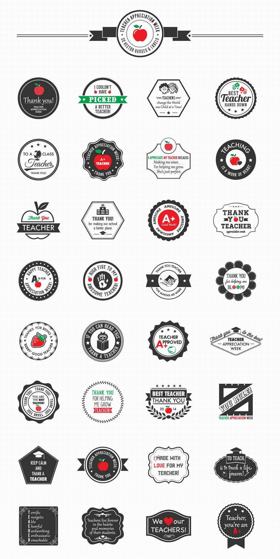 Teacher Appreciation Week Mega Pack - 32 Vector Badges & Labels