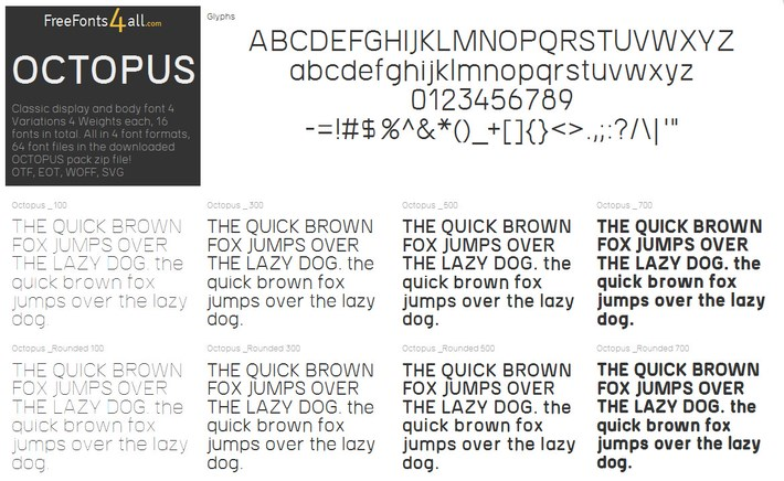 Free font family OCTOPUS