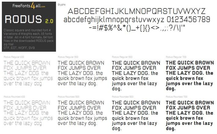 Free font family RODUS2.0