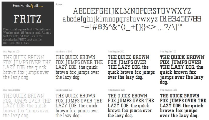 Free font family FRITZ