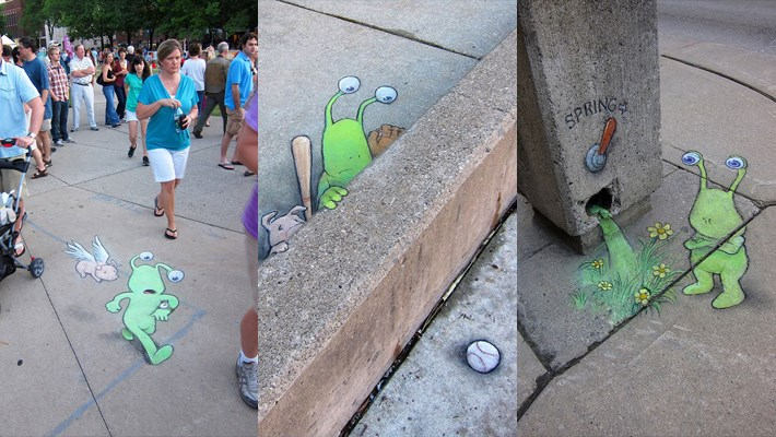 Chalk Drawn Sluggo by David Zinn