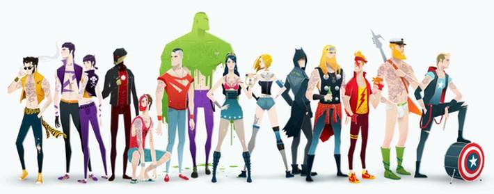 Super Heroes Illustration - Super Rockers