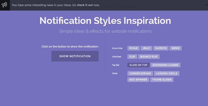 CSS Animation Notification Style for Inspiration