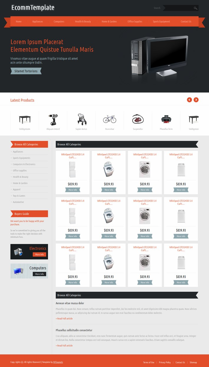 free template ecommerce with responsive design, Powerpoint templates