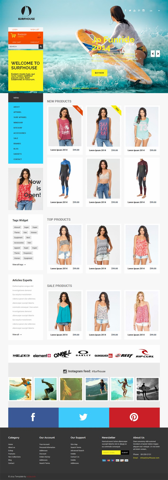Surfhouse_Bootstarp Free Template Ecommerce
