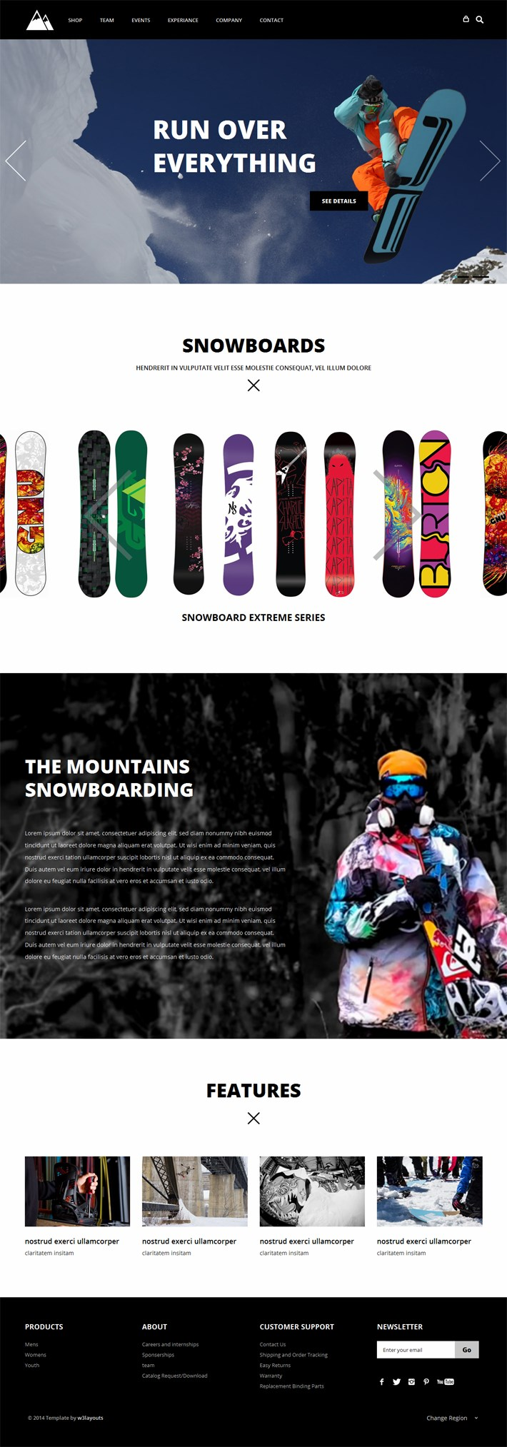 Snowboarding - Flat Responsive Free Template