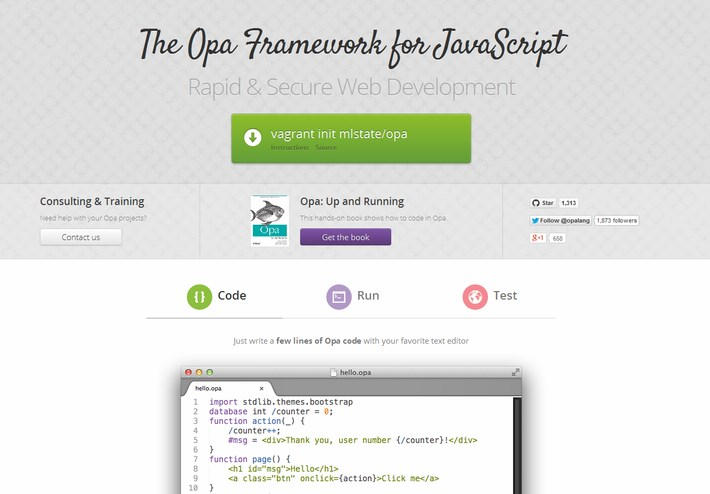 The Opa Node.js Web Development Frameworks