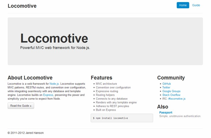 Locomotive - Powerful MVC web framework for Node.js
