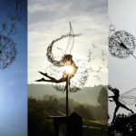 Dynamic Fairy Wire Sculptures Dancing with Dandelions by Robin Wight