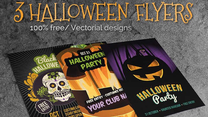 3 Halloween Party Flyers - Free Vectorial Designs 1