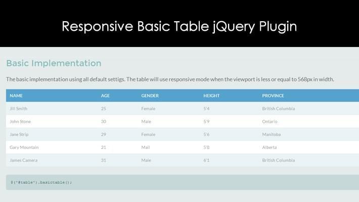 Responsive Basic Table jQuery Plugin