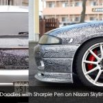 Draw Doodles with Sharpie Pen on Nissan Skyline GTR