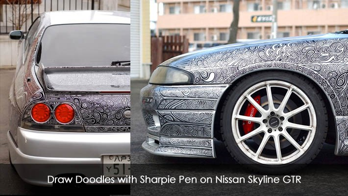 Draw Doodles with Sharpie Pen on Nissan Skyline GTR