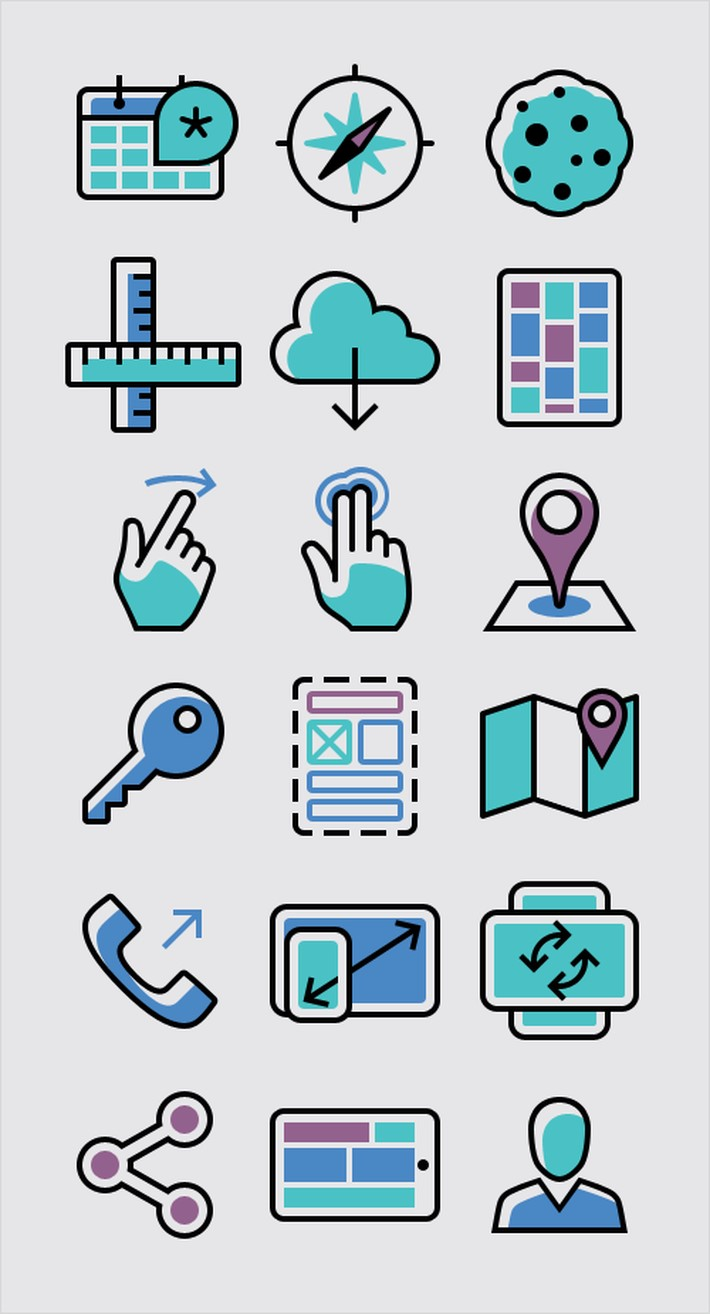 100 free responsive and mobile icon set