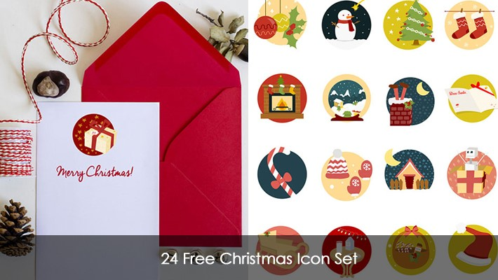 24 Free Christmas Icon Set