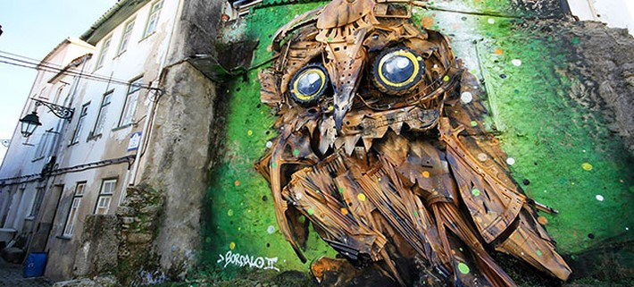 Creates Amazing Owl Sculpture from Junk