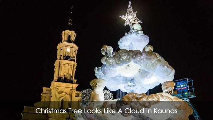Christmas Tree Looks Like A Cloud In Kaunas