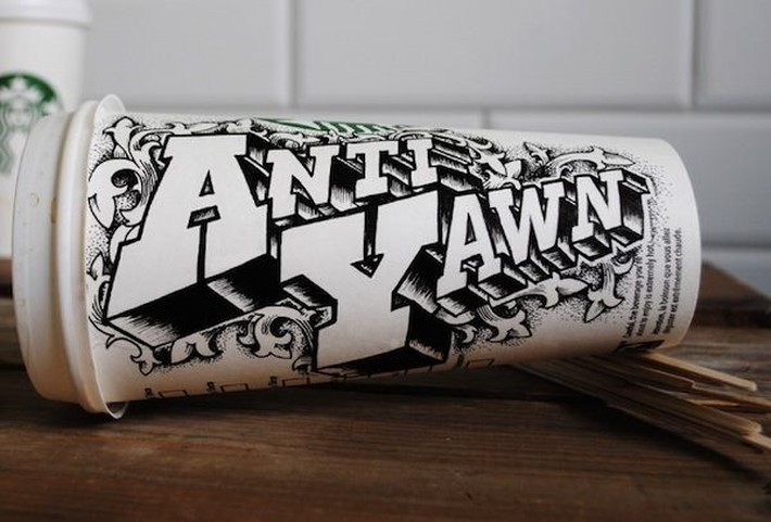 Hand Lettered Coffee Cups