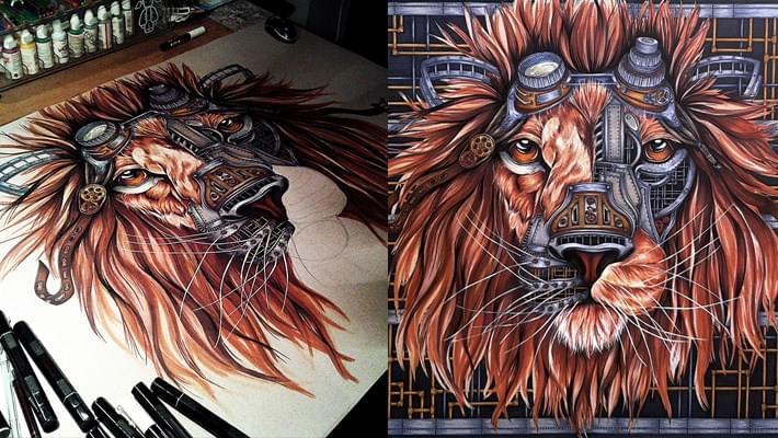 Steampunk Lion Drawing by Paula Duta